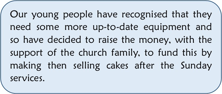 young people cake selling text
